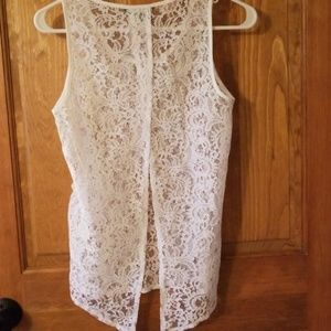 Express Tops - Express White Lace Tank Top Slit Back Open Back XS